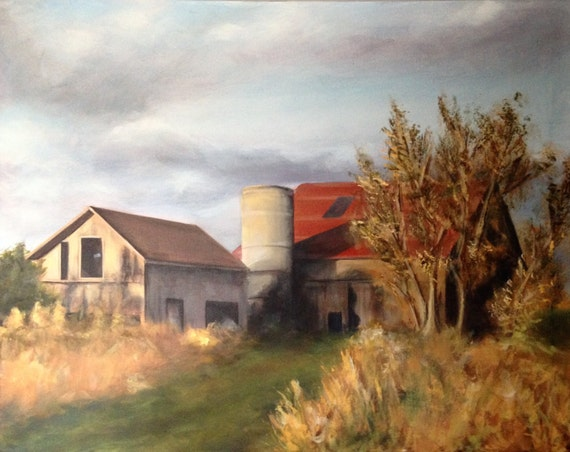 original acrylic landscape painting barn painting