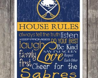 Buffalo Sabres House Rules 4 x 4. 1/2 Fridge Magnet