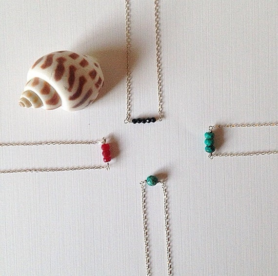 sterling silver bead bar necklaces ••• delicate jewelry