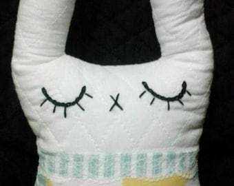 Stuffed Bunny Rabbit 12 Inch Handsewn Skinny-Earred Handmade Quilted Fabric Nursery Stuffed Animal Memory Keepsake Baby Toy