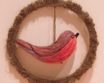 Handmade Wool Felted Robin Hanging Decoration
