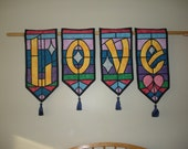 LOVE Stained Glass Quilt Banners  HAFAIR