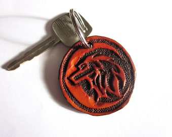 Hand Tooled Leather Wolf Key Chain