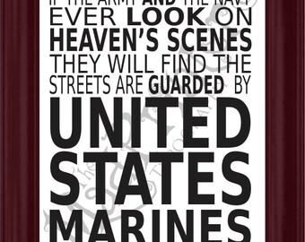 Marine Corps Hymn Digital Typography Print 16x20, USMC Print, USMC Typography, United States Marines Print, United States Marine Corps Print