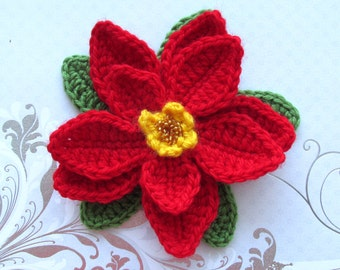 The Poinsettia Crochet Pattern Brooch, Red Flower Brooch, Instant Download