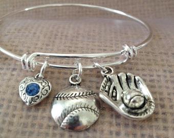 Bracelet with heart, baseball/softball  and glove charms