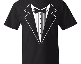 10 Printed Tuxedo Shirts Groom Gift Groom Shirts Wedding Gift Wedding Party Shirts Customized Wedding Shirts