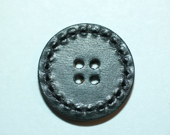 "1"" Black Leather 4-hole Button. (25mm)"