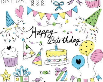 Happy Birthday party theme pastel colours handdrawn text vector digital 300dpi clip art ZIP individual transparent pngs eps instand download