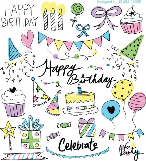 Happy Birthday Party Theme Pastel Colours Handdrawn Text