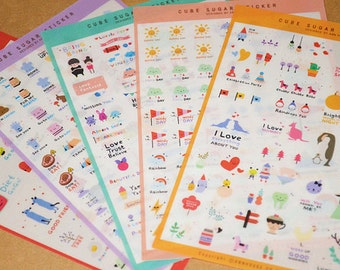 Happy Days Diary Deco Sticker Cartoon Stickers - 5 Sheets,Animals,Message,Kawaii,Journal Stickers