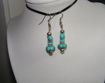"""Silver tone Turquoise (howlite) drop dangle earrings, about 2""""   B27"""