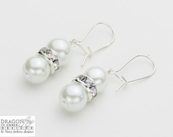 Pearl Earrings - 8mm Glass Pearls and Crystal Rondelles - Misty