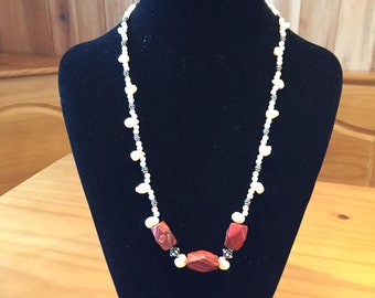 Jasper and freshwater pearl necklace