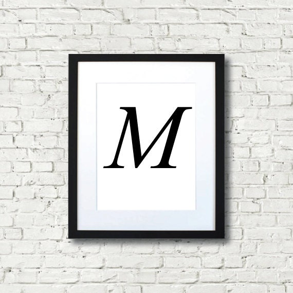 Alphabet Letter M Black And White Print Wall Art Typography