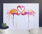 Pink Flamingo Love Art Print - Watercolor Bird Art Illustration for Sale