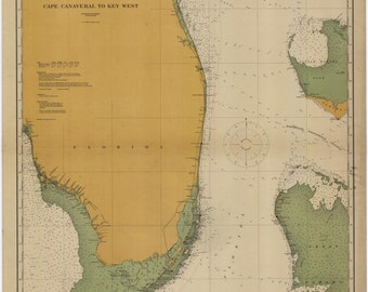 Cape Canaveral to Key West Historical Map 1916