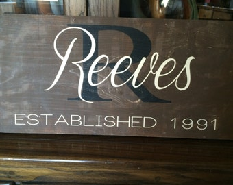 Family Monogrammed Wood Sign
