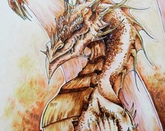 Ismar Bekir Original Drawing / Painting PRINT, Smaug