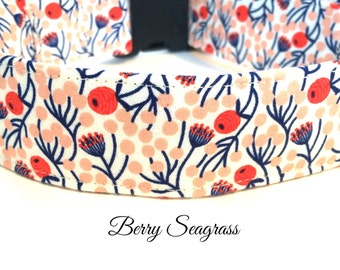 Berry Seagrass Dog Collar ~  Coral and Blue Dog Collar ~ Matching Leash Available