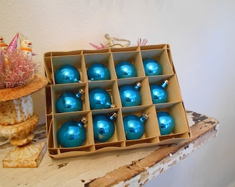 1950's Polish Bright Blue Turquoise Christmas Balls in Box