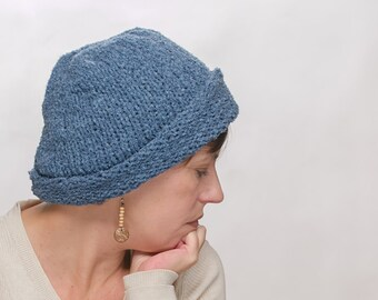 Knitted hat for woman blue
