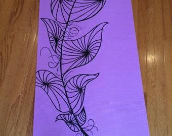 Custom Swirly Feather Yoga Mat
