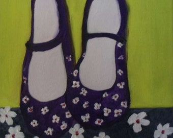 Table oil on canvas slippers, naive painting