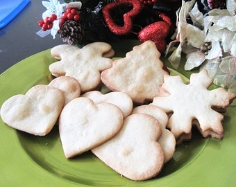Homemade Vanilla Sugar Cookies- one dozen fresh baked cookies--Holiday gift---Christmas gift,,Christmas cookies