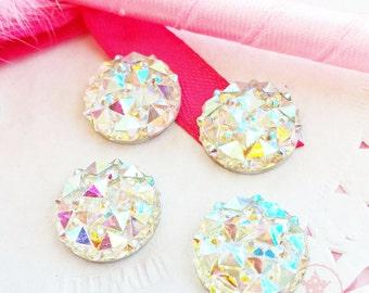 14mm Round Crystal AB Glittery Acrylic Special Effect Rhinestones ~ Q1-17