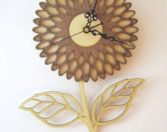 """Wooden wall clock  - """"FLOWER"""""""