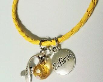 """Yellow """"Believe in Hope"""" awareness bracelet"""