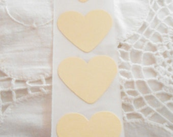 Large Ivory Cream Heart Wedding Event Envelope Seals - Sweet Love Stickers x 25