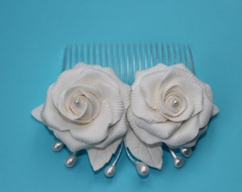 Wedding Bridal Hair  Flowers  - Bridal fascinator - Bridal head piece
