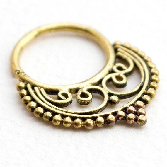 Tribal Septum Ring for pierced nose. septum nose ring. septum piercing. brass septum ring. 18g septum.tribal septum ring.septum jewelry.rs13