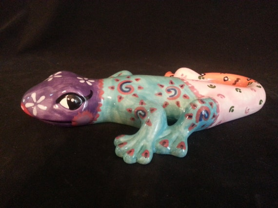 Uniquely Designed Ceramic Multi-Colored Lizard