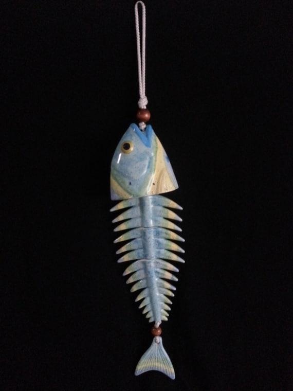 Unique Ceramic Blue & Yellow Fish Chime