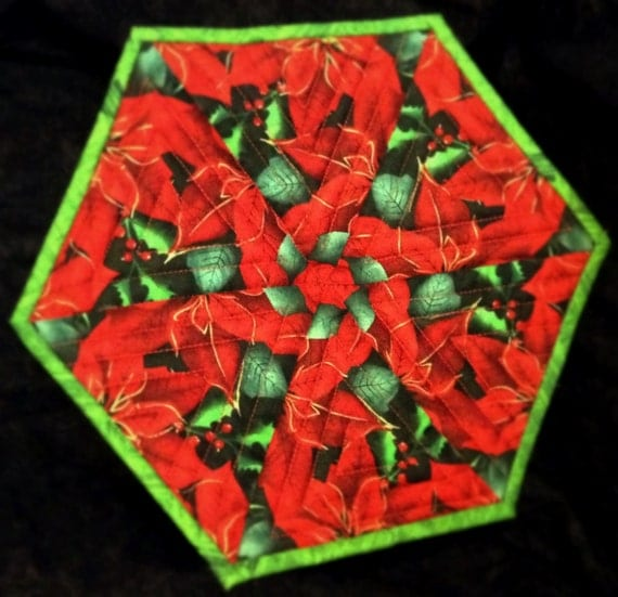 Christmas Poinsettia kaleidoscope hotpad or candle mat