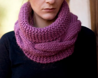 Hand Knit Cable Cowl, Soft Wool Infinity Scarf, Warm Loop Scarf, Winter Neck Warmer