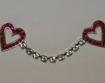 Vintage Twin Hearts Red Rhinestone Pin