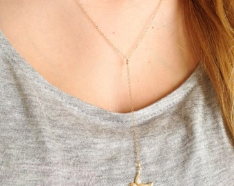 14k Gold Filled Bird Necklace, Layering Necklace, Lariat Necklace, Drop Chain Necklace, Minimalist Necklace, Dainty Bird Necklace, Gifts