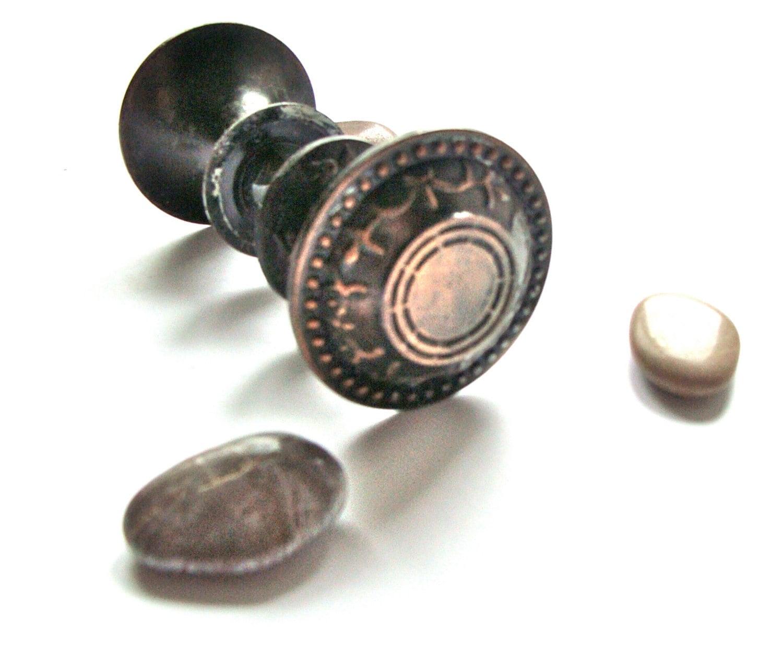 vintage brass flower decorative door knob set of 2 round doorknob metal doorknob soviet. Black Bedroom Furniture Sets. Home Design Ideas
