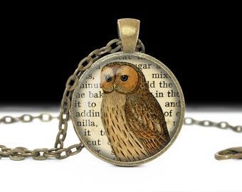 Owl Jewelry Pendant Wearabel Art Owl Necklace Book Page Owl