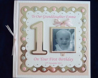 Large Handmade Personalised Babies 1st/2nd/3rd/4th Photo Birthday Card Blue/Pink