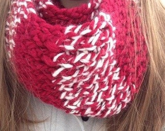Red and white long eternity scarf