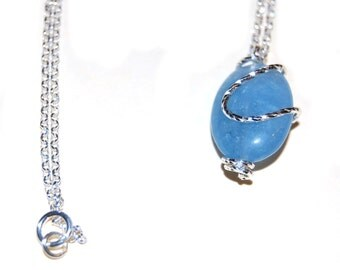 925 sterling silver aquamarine pendant on a chain