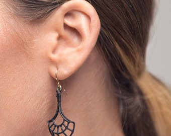 Dainty Earrings - Geometric Earrings - Charcoal Gray Earrings - Gift for Her - Handmade Jewelry