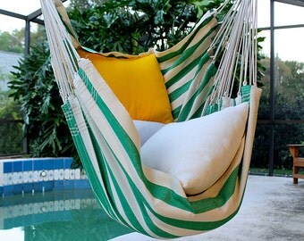 Fresh Spearmint - Fine Cotton Hammock Chair, Made in Brazil