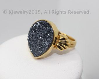 Drusy Ring , Sterling Silver Ring , Gemstone Ring
