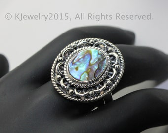 Abalone Shell  Ring,Sterling Silver Ring , Gemstone Ring